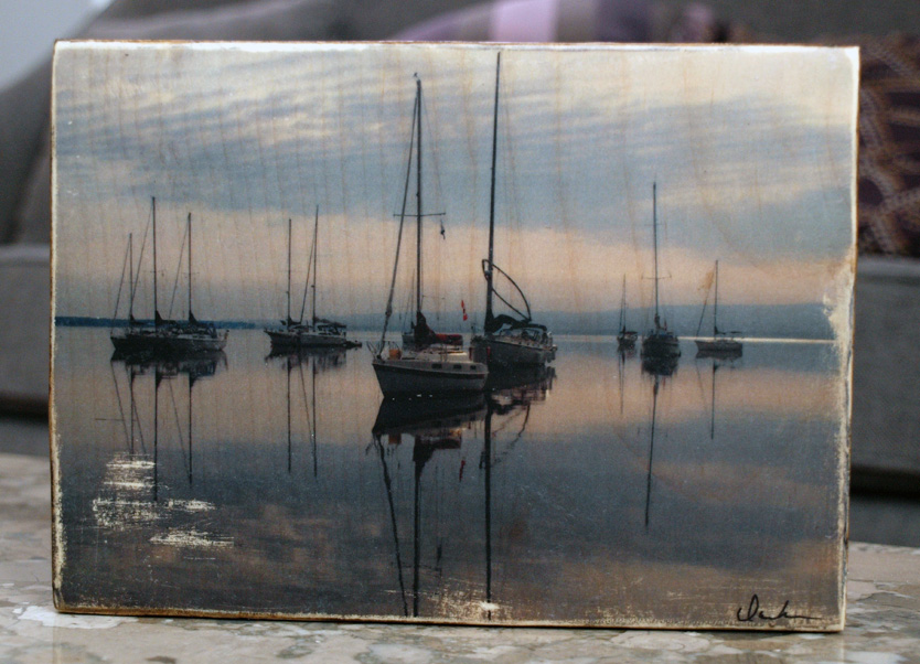 Original Photo Print | Calm Anchored Boats | Reclaimed Wood