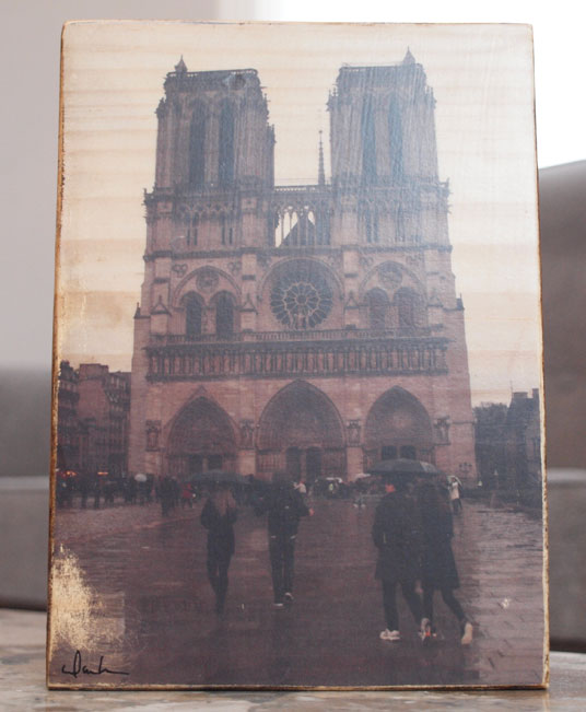 Orignal Photo Print | Rainy Notre Dame | Reclaimed Wood