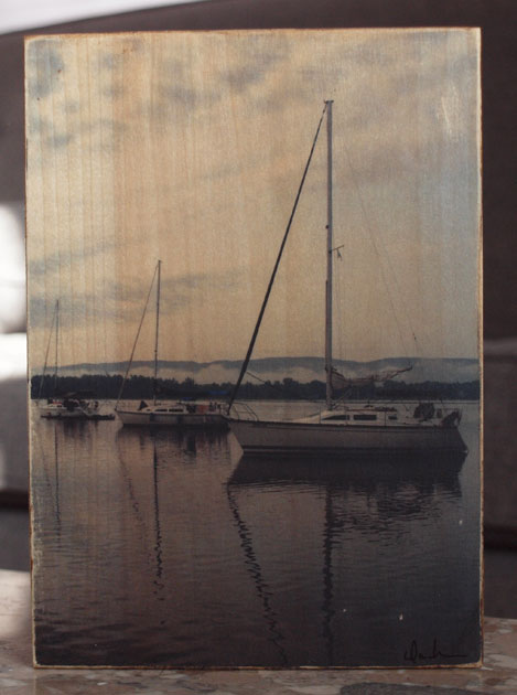 Photographic Photo Print | 3 Boats at Anchor | Reclaimed Wood