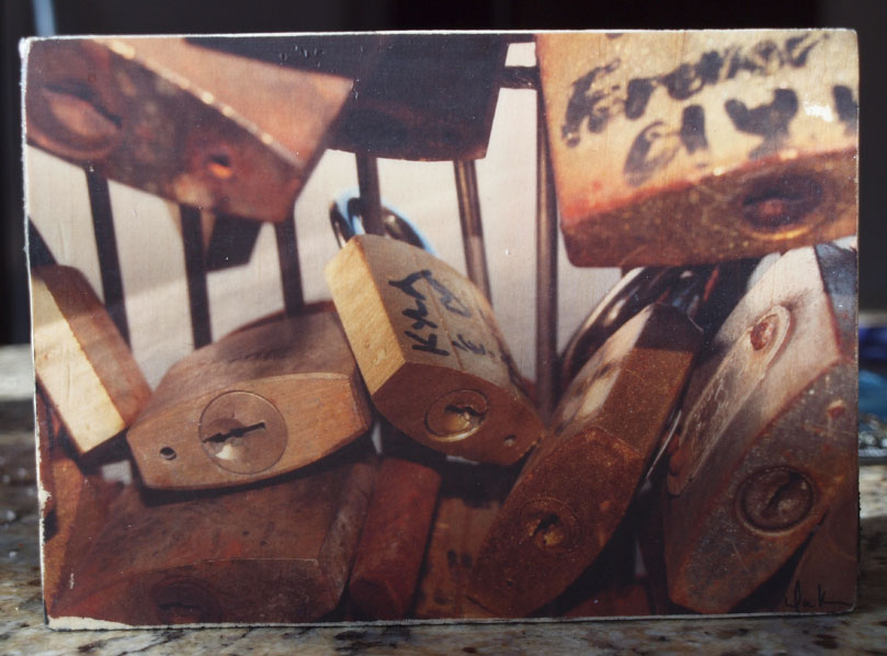 Original Photo Print | Paris Locks | Reclaimed Wood