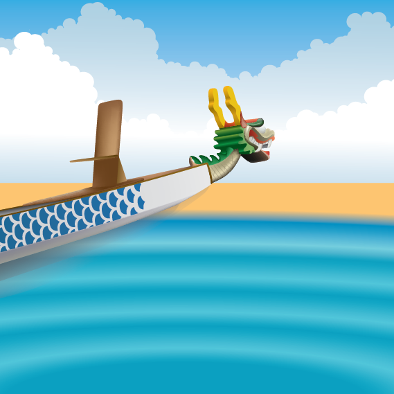 Dragon Boat on the Beach | Cheap Vector Art
