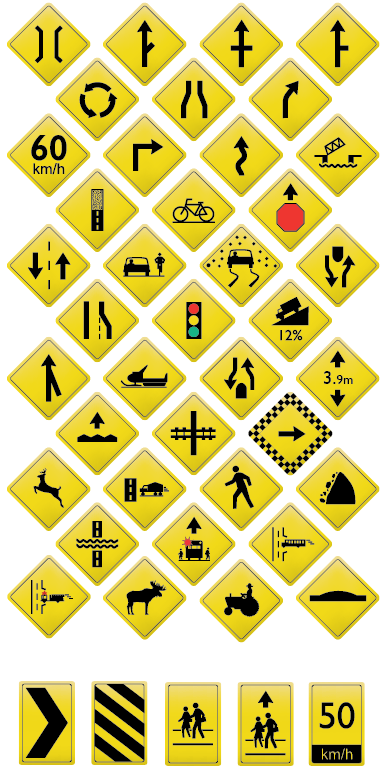 Yellow Road Traffic Sign Collection | Cheap Vector Art