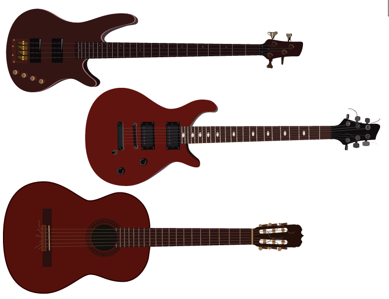 Electric, Acoustic and Bass Guitar | Cheap Vector Art