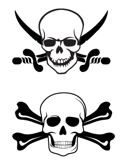Two Different Jolly Roger Skulls | Cheap Vector Art