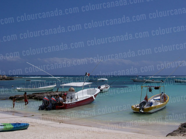 Boats on the Beach, Akumal, Mexico | Cheap Stock Photo
