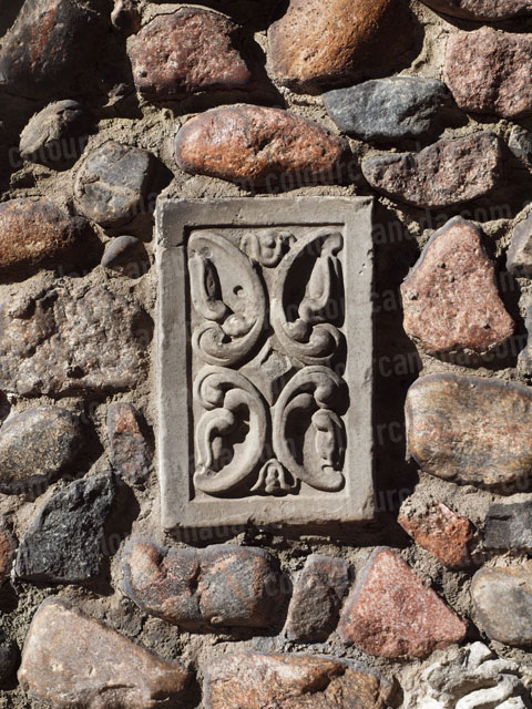 Architectural Detail Floral Inlay Stone Wall | Cheap Stock Photo