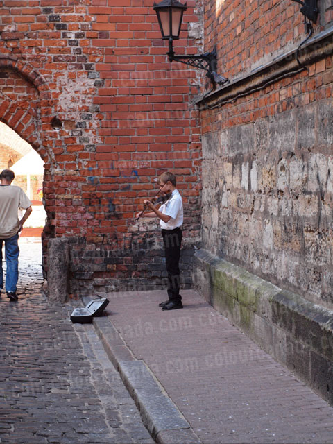 Busker Playing Violin in Gdansk Poland | Cheap Stock Photo