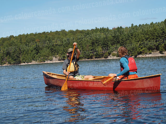 Canoeing in Opposite Directions | Cheap Stock Photo