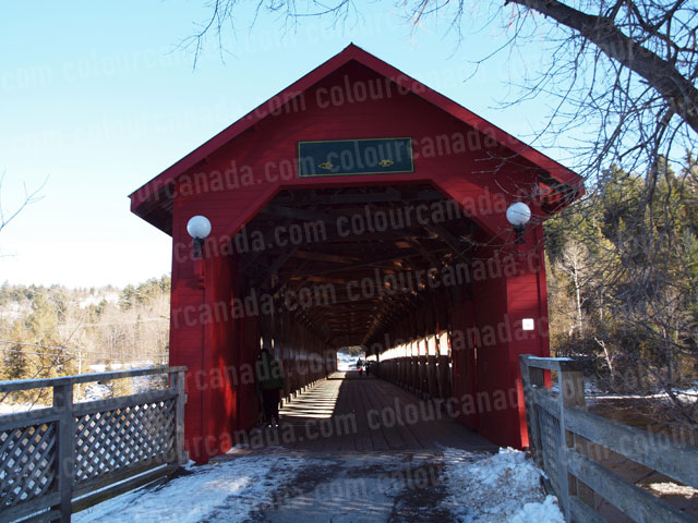 Entrance to Red Covered Bridge | Cheap Stock Photo