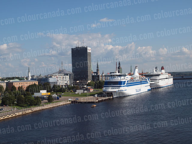 Cruise Ships and Skyline at Riga, Latvia | Cheap Stock Photo