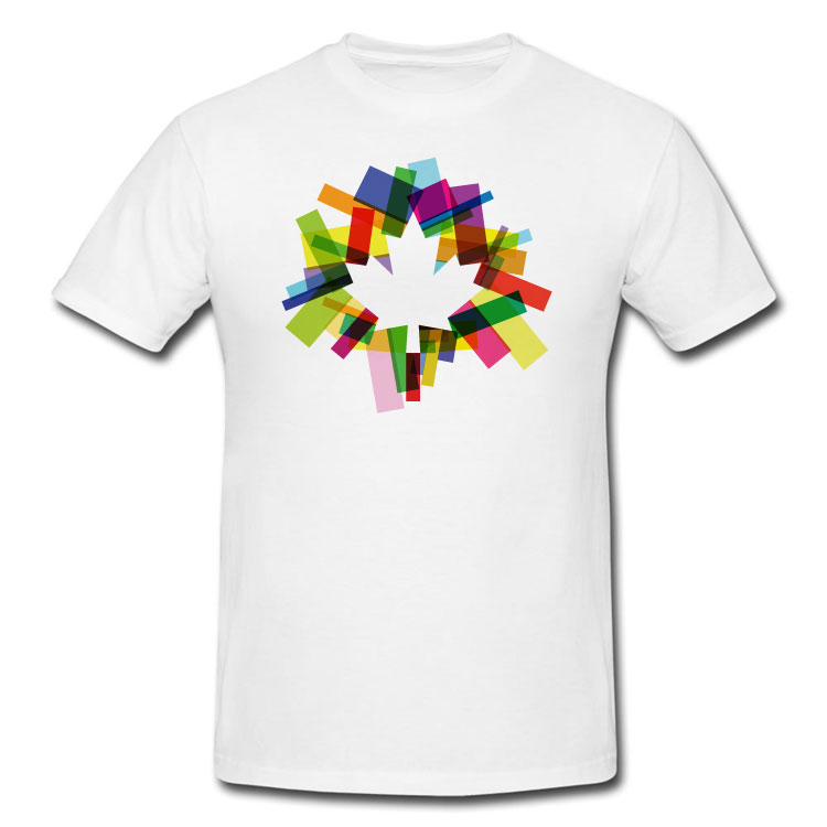 Colourful Modern Abstract Rectangles Maple Leaf T Shirt