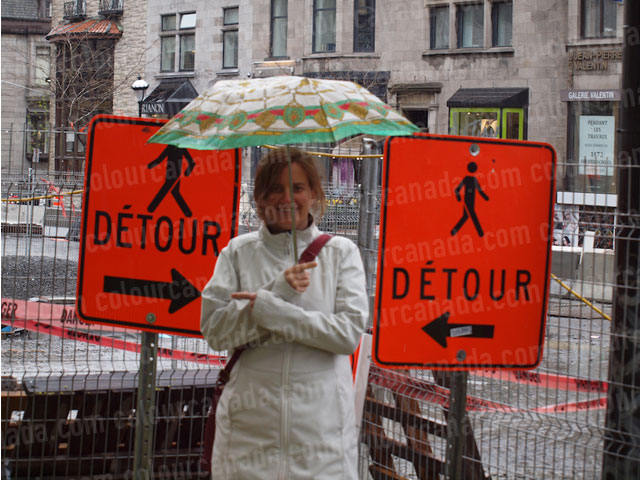 Detour Sign Confusion | Cheap Stock Photo