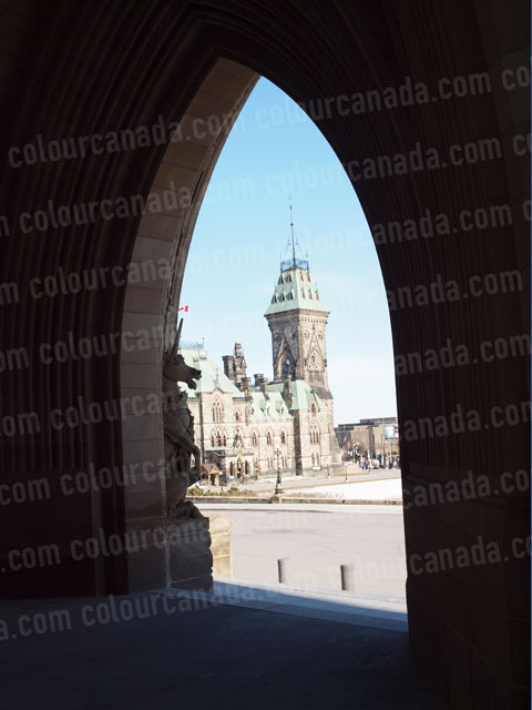 East Block of Parliament Through an Arch | Cheap Stock Photo