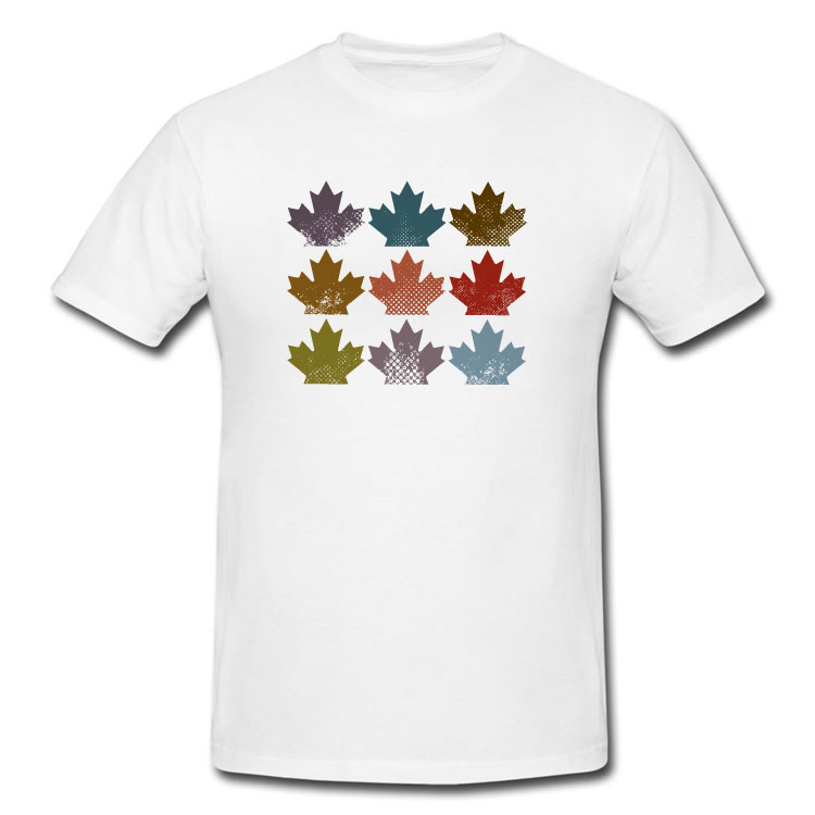 Grunge Maple Leaves T Shirt