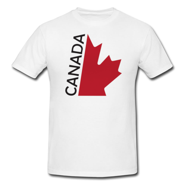 Canada Half Maple Leaf T Shirt in White or Black