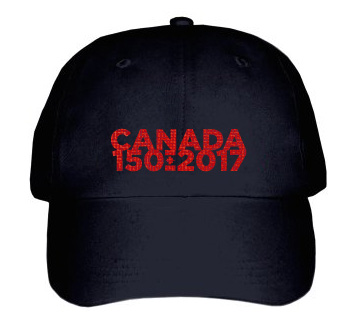 Canada 150 2017 Word Mark Baseball Cap | Red on Black