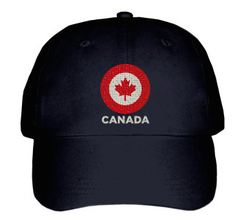 Canada Maple Leaf Target Baseball Hat | Red and White on Black