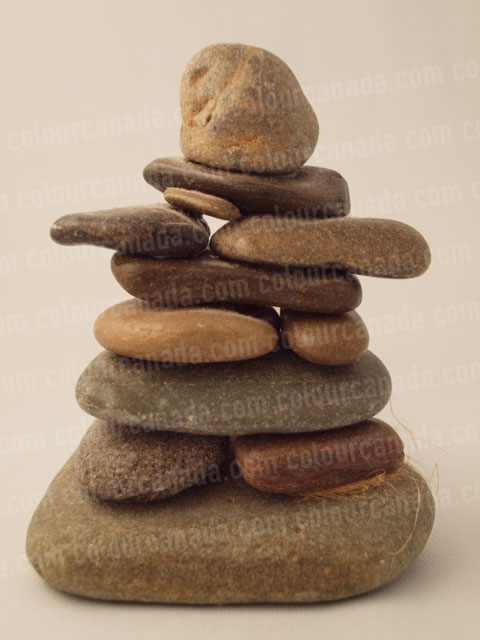 Inukshuk (2) Small Stone Statue | Cheap Stock Photo