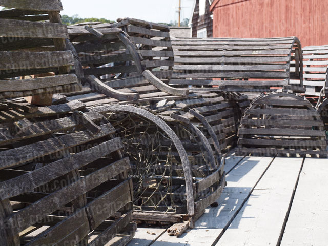 Lobster Traps on a Dock | Cheap Stock Photo