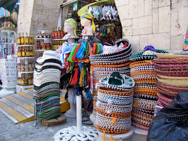 Colourful Mexican Shop with Sombreros | Cheap Stock Photo