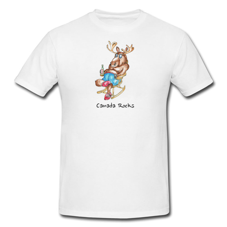 Canada Rocks Moose Drinking in a Rocking Chair T Shirt