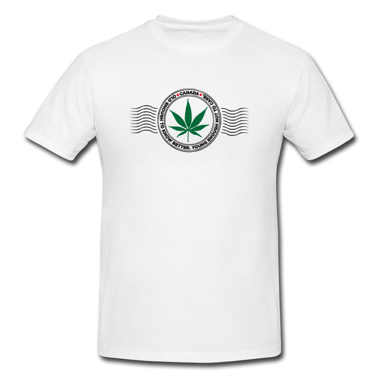 Canada Marijuana Stamp T Shirt in White or Black