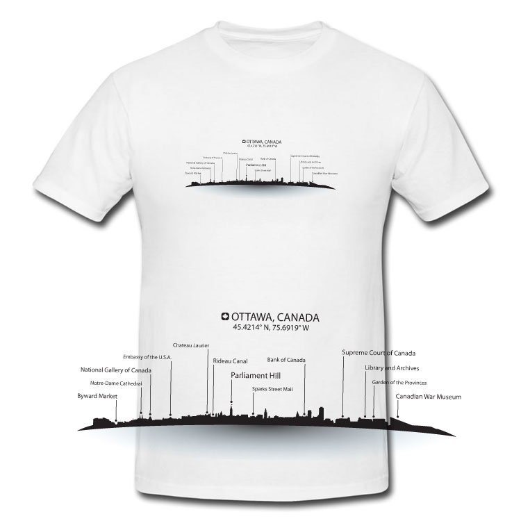 Ottawa Skyline Map T Shirt