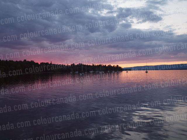 Pink Sunset with Anchored Boats | Cheap Stock Photo