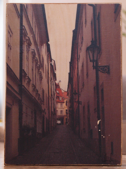 Original Photo Print | Prague Alley Way | Reclaimed Wood