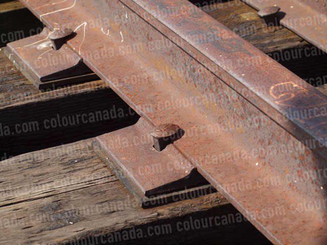 Railway (3) Rusted Track and Spikes | Cheap Stock Photo