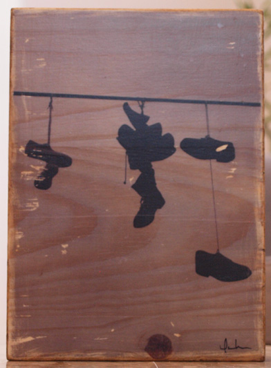 Original Photo Print | Shoes on a Wire | Reclaimed Wood