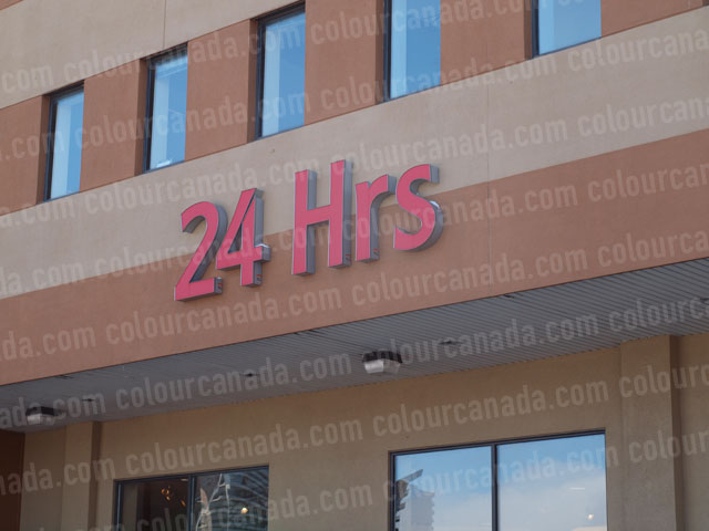 Sign 24 HRS Red Lighted | Cheap Stock Photo