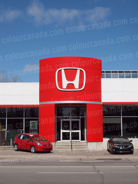 Sign Honda at a Dearlership Red and White | Cheap Stock Photo - Click Image to Close