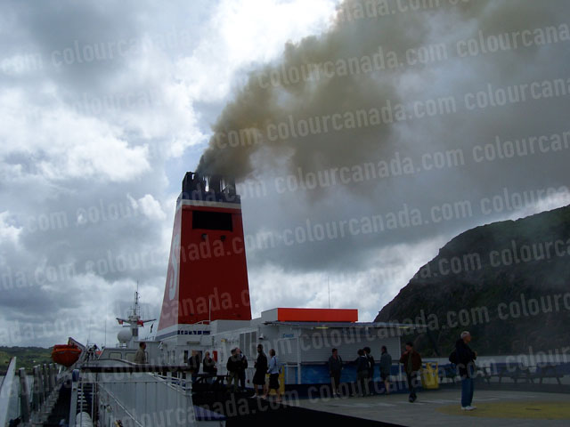 Ship's Smoke Stack with Black Smoke | Cheap Stock Photo
