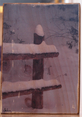 Original Photo Print | Snow on Log Fence | Reclaimed Wood