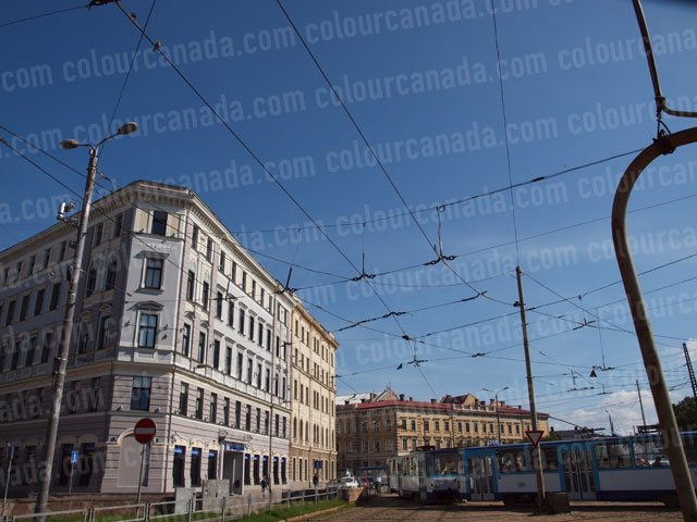 Street Car with Overhead Wires | Cheap Stock Photo