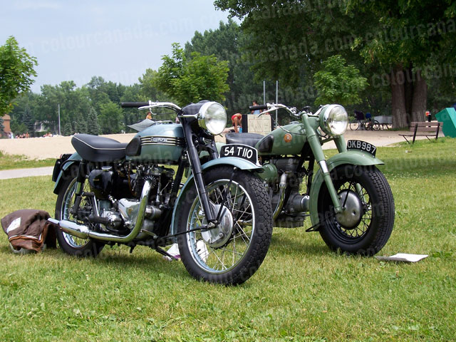 Two Vintage Triumph Motorcycles | Cheap Stock Photo