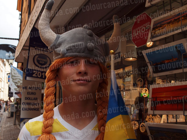 Viking Hat on Teenager | Cheap Stock Photo