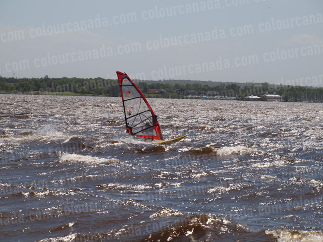 Windsurfer (4) Red Sail Yellow Board | Cheap Stock Photo